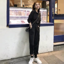 Casual pants Black Long Sleeve Black Short Sleeve S M L XL 2XL Spring 2021 trousers Jumpsuit High waist commute routine 96% and above Jack cat other Korean version Bandage Other 100%