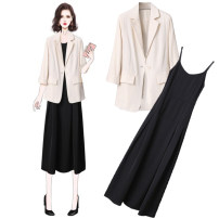Dress Spring 2020 Grey suit + black suspender skirt apricot suit + black suspender skirt one piece grey suit one piece apricot suit one piece black suspender skirt S M L XL Mid length dress Two piece set Long sleeves commute tailored collar High waist Solid color A button A-line skirt routine Others