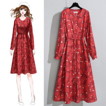 Women's large Spring 2020 Long sleeve red floral dress short sleeve red floral dress L XL S M singleton  commute Long sleeves Broken flowers Retro Crew neck other shirt sleeve QKM200207649 Jack cat 25-29 years old Bandage 96% and above longuette Other 100% Pure e-commerce (online only)
