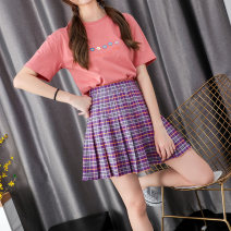 skirt Summer 2020 M L XL violet Short skirt commute High waist A-line skirt lattice 18-24 years old XMM-1973-ZB Beautiful countryside Pure e-commerce (online only) 351g / m ^ 2 (including) - 400g / m ^ 2 (including)