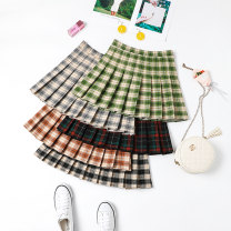 skirt Winter 2020 S M L XL 2XL 3XL Black gray green Khaki red black Short skirt commute High waist Pleated skirt lattice Type A 18-24 years old XMM-1970N More than 95% Beautiful countryside other fold Other 100%