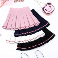 skirt Summer of 2019 S M L XL 2XL Black Pink White Short skirt Versatile High waist Pleated skirt stripe Type A 18-24 years old More than 95% brocade Beautiful countryside polyester fiber Polyester 98.6% polyurethane elastic fiber (spandex) 1.4% Pure e-commerce (online only)