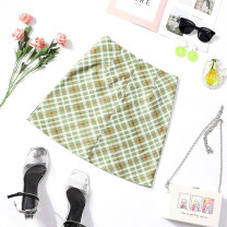 skirt Summer of 2019 S M L XL Avocado Green check Short skirt Versatile High waist skirt lattice Type A 18-24 years old XMM-1958 71% (inclusive) - 80% (inclusive) Beautiful countryside polyester fiber Polyester 80% cotton 17% polyurethane elastic fiber (spandex) 3% Pure e-commerce (online only)