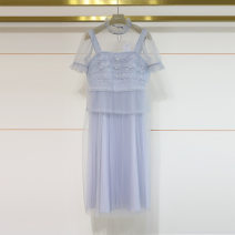 Dress Summer 2021 Champagne, ice blue S,XL,L,M Mid length dress commute middle-waisted Solid color Socket Others 25-29 years old Splicing N0360057 51% (inclusive) - 70% (inclusive) other polyester fiber