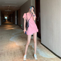 Dress Summer 2020 Black pink grey S M L XL Middle-skirt singleton  Short sleeve commute Polo collar High waist Solid color Socket A-line skirt routine Others 18-24 years old Yingzi instrument Korean version 71% (inclusive) - 80% (inclusive) other polyester fiber Polyester 80% other 20%