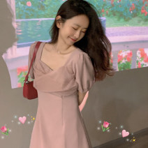 Women's large Summer 2021 Rose powder high grade grey S M L XL Dress commute Short sleeve Yingzi instrument 18-24 years old Middle-skirt Other 100% Same model in shopping mall (sold online and offline)
