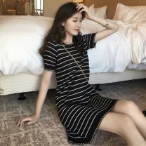 Women's large Summer 2020 White black S M L XL Dress singleton  commute Straight cylinder moderate Socket Short sleeve stripe Korean version Crew neck routine polyester Collage routine Yingzi instrument Gouhua hollow 91% (inclusive) - 95% (inclusive) Short skirt other