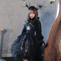 Lolita / soft girl / dress Cherry love Jsk dress + waist cover, neckwear + jsk dress + waist cover, black shirt, white shirt S,M,L,XL,2XL,3XL Unlimited season, winter, summer, spring, spring and autumn goods in stock Chinese style, Gothic style, Lolita