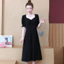 Women's large Summer 2021 black Big l [100-115kg] big XL [115-130kg] big XXL [130-145kg] big 3XL [145-160kg] big 4XL [160-180kg] Dress singleton  commute Self cultivation moderate Socket Short sleeve Solid color Simplicity V-neck polyester Three dimensional cutting puff sleeve Williams fungus other