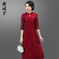 cheongsam Spring of 2019 M L XL XXL 3XL 4XL 5XL three quarter sleeve long cheongsam Retro Low slit daily Oblique lapel Solid color Over 35 years old Embroidery Shuilingzi other Other 100% Pure e-commerce (online only)