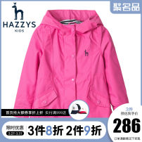 Windbreaker Hazzys neutral spring and autumn princess No detachable cap Zipper shirt Medium length Polyester 100% Solid color other No belt Polyester 100%