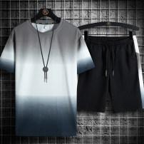 Leisure sports suit summer M L XL 2XL 3XL 4XL 5XL 6XL 7XL Grey blue yellow Short sleeve Simplicity shorts Large size T-shirt Z-MJ-1370 cotton Summer 2021