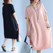 Women's large Summer of 2019 Large XL [100-150 Jin can wear] large 2XL [150-200 Jin can wear] large 3XL [200-250 Jin can wear] large 4XL [250-300 Jin can wear] Dress singleton  commute easy thin Socket Short sleeve Plants and flowers Korean version Crew neck Medium length cotton printing and dyeing