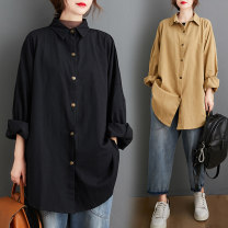 Women's large Autumn 2020 Large XL [100-150 Jin can wear] large 2XL [150-200 Jin can wear] large 3XL [200-250 Jin can wear] large 4XL [250-300 Jin can wear] shirt singleton  commute easy Cardigan Solid color Korean version Medium length Han shika 30-34 years old Exclusive payment of tmall