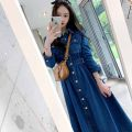 Dress Autumn 2020 blue S M L XL longuette singleton  Long sleeves commute Polo collar middle-waisted Solid color Single breasted Big swing other Others 18-24 years old Shuixi ballad Korean version CWDP31740 More than 95% Denim other Other 100% Pure e-commerce (online only)