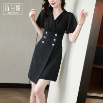 Dress Summer 2021 black S/155 M/160 L/165 XL/170 XXL/175 Middle-skirt singleton  Short sleeve commute V-neck middle-waisted Solid color double-breasted A-line skirt routine Others 25-29 years old Type X Zolani Ol style Button ZB3055 81% (inclusive) - 90% (inclusive) polyester fiber
