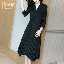 Dress Autumn of 2019 black S/155 M/160 L/165 XL/170 XXL/175 Mid length dress Fake two pieces Nine point sleeve commute tailored collar middle-waisted Solid color Socket Pleated skirt routine 30-34 years old Type X Zolani lady fold ZC8620 More than 95% polyester fiber Polyester 100%