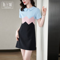 Dress Summer 2021 Blue Pink S/155 M/160 L/165 XL/170 XXL/175 Middle-skirt singleton  Short sleeve commute Doll Collar middle-waisted Solid color Socket A-line skirt routine Others 25-29 years old Type A Zolani lady Splicing ZB3023 More than 95% polyester fiber Pure e-commerce (online only)