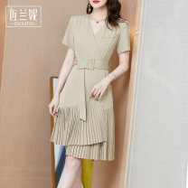 Dress Summer 2020 Light green black S/155 M/160 L/165 XL/170 XXL/175 Mid length dress singleton  Short sleeve commute V-neck middle-waisted Solid color other Pleated skirt routine Others 25-29 years old Zolani Ol style Pleated pockets with lace up stitching ZL03808 More than 95% polyester fiber