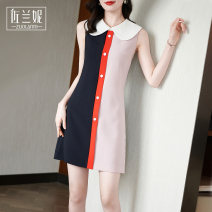 Dress Summer 2021 Pink S/155 M/160 L/165 XL/170 XXL/175 Short skirt singleton  Sleeveless commute Doll Collar High waist Solid color Socket A-line skirt routine Others 25-29 years old Zolani lady Stitching buttons ZB3065 More than 95% polyester fiber Polyester 100% Pure e-commerce (online only)