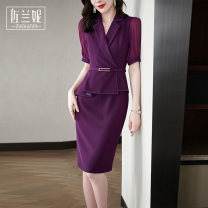 Dress Summer 2021 Purple black S/155 M/160 L/165 XL/170 XXL/175 Mid length dress Fake two pieces Short sleeve commute V-neck middle-waisted Solid color zipper One pace skirt routine 25-29 years old Type H Zolani lady Zipper back split ZB3015 More than 95% polyester fiber Polyester 100%
