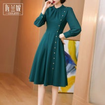 Dress Autumn 2020 Black, dark green S/155 M/160 L/165 XL/170 XXL/175 Mid length dress singleton  Long sleeves commute stand collar middle-waisted Solid color Single breasted A-line skirt routine Others 30-34 years old Type X Zolani Ol style Button ZT63098-1 More than 95% polyester fiber
