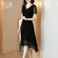 Dress Summer 2020 Black lace up V-neck black bright V-neck black S/155 M/160 L/165 XL/170 XXL/175 xxxl/180 Mid length dress singleton  Short sleeve commute V-neck middle-waisted Solid color Socket A-line skirt routine Others 25-29 years old Type A Zolani lady Splicing ZL320178 More than 95% Chiffon