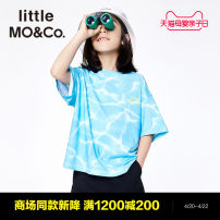 T-shirt Sea color Little MO&CO. 120/60 130/64 140/68 150/72 160/76 male summer Short sleeve Crew neck Europe and America There are models in the real shooting nothing cotton printing Cotton 100% KBA2TEE009 Class B Summer 2021 Chinese Mainland Guangdong Province Guangzhou City