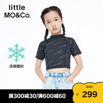 T-shirt black Little MO&CO. 110/56 120/56 130/60 140/64 150/68 155/72 female summer Short sleeve Crew neck Europe and America There are models in the real shooting nothing other letter Polyester 88% polyurethane elastic fiber (spandex) 12% Class B Summer 2021 Chinese Mainland Guangdong Province