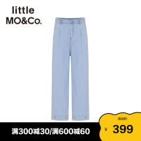 trousers Little MO&CO. female 110/53 120/53 130/56 140/58 150/61 155/64 Denim light blue summer trousers Europe and America No model Jeans Leather belt middle-waisted Don't open the crotch Cotton 74% pet 26% Class B Summer 2021 Chinese Mainland Guangdong Province Guangzhou City