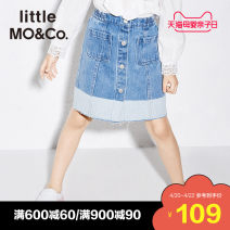 skirt 110/50 110/53 120/53 130/56 140/58 150/61 Denim light blue Little MO&CO. female Cotton 100% spring and autumn skirt Europe and America other cotton KA181SKT401 Spring of 2018