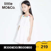 Dress Alice is blue and white female Little MO&CO. 110/52 110/56 120/56 130/60 140/64 150/68 155/72 Cotton 100% summer Europe and America Skirt / vest Pure cotton (100% cotton content) Lotus leaf edge KAI2DRS020 Class B Summer 2021 Chinese Mainland Guangdong Province Guangzhou City