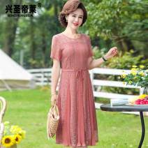 Middle aged and old women's wear Summer 2021 fashion Dress easy singleton  Solid color 40-49 years old Socket thin Crew neck Medium length routine belt polyester Polyester 100% 96% and above Medium length Lace