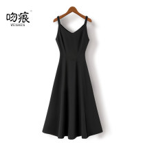 Dress Summer 2021 black S M L XL XXL Mid length dress singleton  Sleeveless commute V-neck High waist Solid color zipper A-line skirt routine camisole 25-29 years old Type X A kiss Korean version zipper L2038702 91% (inclusive) - 95% (inclusive) other polyester fiber Pure e-commerce (online only)