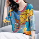 T-shirt blue S M L XL 2XL Summer 2021 three quarter sleeve Crew neck easy Regular routine commute other 96% and above 40-49 years old classic Color matching HN & Mo / Han Mu A217066 Other 100% Pure e-commerce (online only)