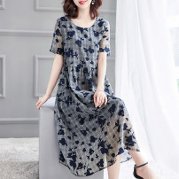 Dress Summer 2021 Navy (broken leaf flower) Navy S M L XL XXL Mid length dress singleton  Short sleeve commute Crew neck Loose waist lattice Socket other routine 40-49 years old HN & Mo / Han Mu 3D A829 More than 95% other Other 100% Pure e-commerce (online only)