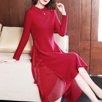 Dress Winter of 2018 gules S M L XL XXL longuette singleton  Long sleeves commute Crew neck middle-waisted Solid color zipper other routine Others 35-39 years old HN & Mo / Han Mu Lace up with tassels 51% (inclusive) - 70% (inclusive) other polyester fiber Polyester 66.4% wool 33.6%