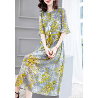 Dress Summer 2020 High grade grey S M L XL XXL Mid length dress singleton  elbow sleeve Crew neck Loose waist Broken flowers Socket Big swing Lotus leaf sleeve 40-49 years old HN & Mo / Han Mu Button A813 More than 95% other Other 100% Exclusive payment of tmall