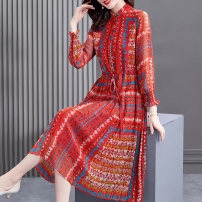 Dress Spring 2021 gules S M L XL 2XL longuette singleton  Long sleeves commute stand collar middle-waisted other Socket A-line skirt bishop sleeve Others 40-49 years old HN & Mo / Han Mu Pleated print More than 95% other Other 100%