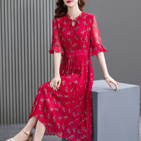 Dress Summer 2021 Jujube red S M L XL 2XL Mid length dress singleton  elbow sleeve commute Crew neck Elastic waist other other A-line skirt Lotus leaf sleeve Others 40-49 years old HN & Mo / Han Mu Pleated lace up printing A217028 More than 95% other Other 100% Pure e-commerce (online only)