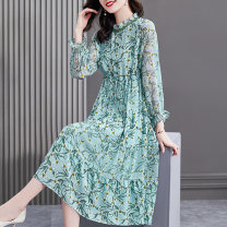 Dress Spring 2021 sky blue S M L XL 2XL longuette singleton  Long sleeves commute stand collar middle-waisted Broken flowers Socket Big swing pagoda sleeve Others 40-49 years old HN & Mo / Han Mu Pleated lace up print A216880 More than 95% other Other 100%