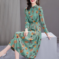 Dress Spring 2021 The lake is green S M L XL 2XL longuette singleton  Long sleeves commute stand collar Elastic waist other Socket A-line skirt shirt sleeve Others 40-49 years old HN & Mo / Han Mu Patchwork printing More than 95% other Other 100%