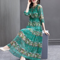 Dress Summer 2021 The lake is green S M L XL 2XL longuette Two piece set three quarter sleeve commute Crew neck Elastic waist Broken flowers Three buttons A-line skirt bishop sleeve Others 40-49 years old HN & Mo / Han Mu Pleated printing AS216973 More than 95% other Other 100%