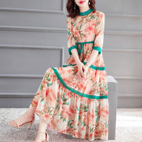 Dress Summer 2020 S M L XL XXL Mid length dress Two piece set elbow sleeve stand collar Elastic waist Decor Socket Big swing routine 40-49 years old HN & Mo / Han Mu Patchwork printing AQ8003 More than 95% silk Mulberry silk 100% Pure e-commerce (online only)