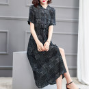 Dress Summer 2020 Black temperament M L XL XXL Mid length dress singleton  Short sleeve Crew neck Loose waist Abstract pattern Single breasted A-line skirt routine 40-49 years old HN & Mo / Han Mu Tie button More than 95% other Other 100% Pure e-commerce (online only)