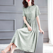Dress Summer of 2019 Light green S M L XL XXL longuette singleton  Short sleeve commute stand collar middle-waisted Dot Socket other other Others 35-39 years old HN & Mo / Han Mu Pleated pocket stitching with strap button print A8002 More than 95% other Other 100% Pure e-commerce (online only)