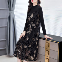 Dress Winter 2020 Black temperament black S M L XL 2XL Mid length dress singleton  Long sleeves commute Half high collar Loose waist Decor Socket A-line skirt routine Others 40-49 years old HN & Mo / Han Mu Pocket patchwork print ARS206198 More than 95% other Other 100% Exclusive payment of tmall