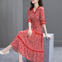Dress Summer 2021 S M L XL 2XL longuette singleton  elbow sleeve commute V-neck middle-waisted Broken flowers Socket Big swing routine Others 40-49 years old HN & Mo / Han Mu Lace up printing More than 95% other Other 100% Pure e-commerce (online only)