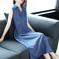 Dress Summer of 2019 blue S M L XL XXL Mid length dress singleton  Sleeveless commute V-neck middle-waisted Solid color Socket other routine Others 35-39 years old HN & Mo / Han Mu Pleated stitching bandage More than 95% Denim other Lyocell 100% Pure e-commerce (online only)