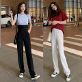 Casual pants Black off white Khaki M L XL Autumn of 2019 trousers Wide leg pants High waist commute Thin money Korean version Polyester 95% polyurethane elastic fiber (spandex) 5%
